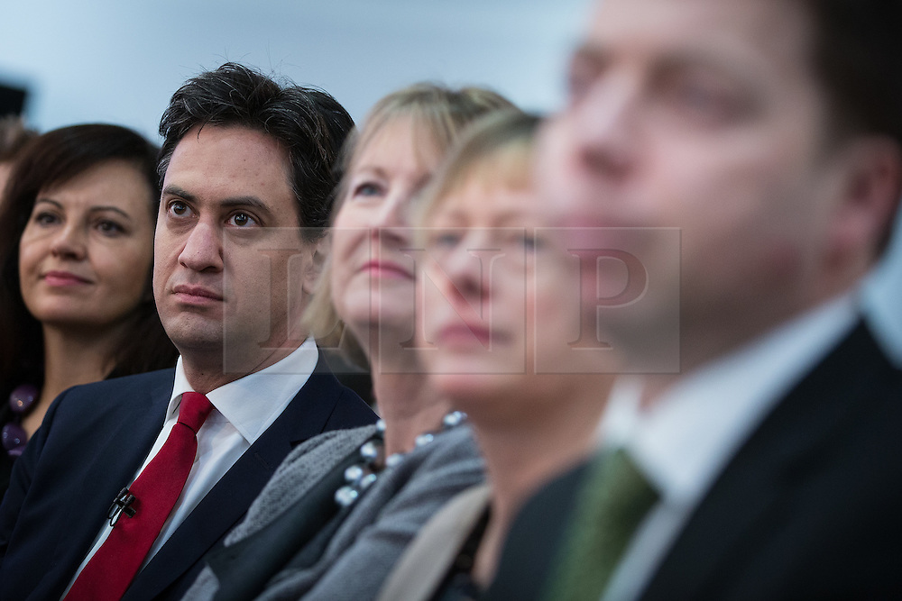 """© Licensed to London News Pictures . 01/03/2014 . London , UK . Rachel Reeves , Ed Miliband , Harriet Harman , Angela Eagle and Iain McNicol . The Labour Party hold a one day """" Special Conference """" at the Excel Centre in London today (Saturday 1st March 2014) . Photo credit : Joel Goodman/LNP"""