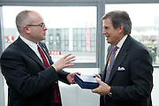 Peter Grauer (right) shakes hands with USA Pavilion CEO Martin Alintuck before Bloomberg Forum 'Green Evolution: China and the Global New Energy Race', at the USA Pavilion, in Shanghai World Expo 2010, China, on October 21, 2010. Photo by Lucas Schifres/Pictobank