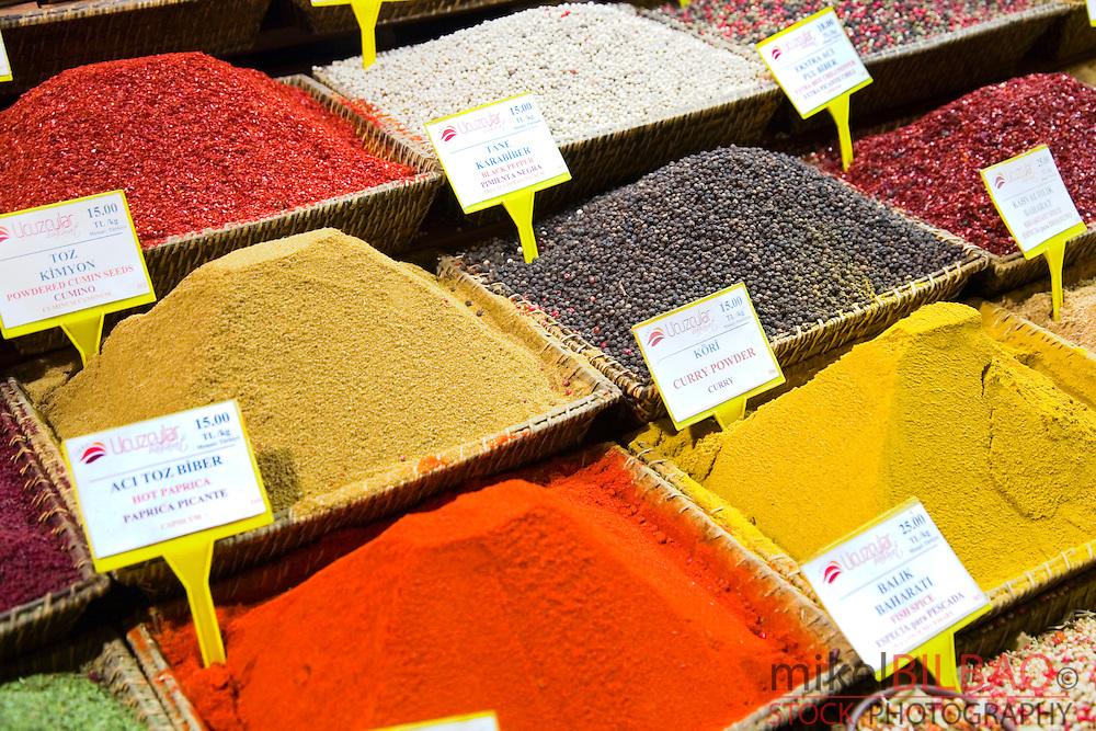 Spices store. The Spice Bazaar or Egyptian Bazaar.<br /> Istanbul, Turkey
