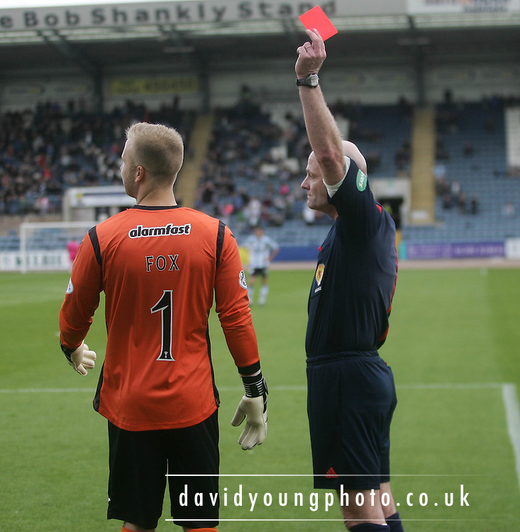 Referee Craig Charleston red cards Partick Thistle goalkeeper Scott Fox - Dundee v Partick Thistle, SPFL Premiership at Dens Park<br /> <br />  - &copy; David Young - www.davidyoungphoto.co.uk - email: davidyoungphoto@gmail.com