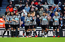 Dwight Gayle of Newcastle United celebrates after scoring his sides first goal - Mandatory by-line: Matt McNulty/JMP - 11/02/2018 - FOOTBALL - St James Park - Newcastle upon Tyne, England - Newcastle United v Manchester United - Premier League