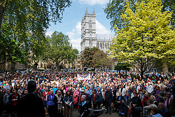 © licensed to London News Pictures. London, UK 03/05/2014. Women priests gathering at Westminster Abbey before walking to St Paul's Cathedral in a procession to mark the twentieth anniversary of women becoming ordained priests in the Church of England. Photo credit: Tolga Akmen/LNP