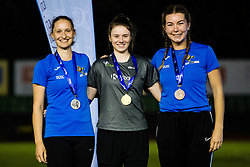 Tina Vaupot (silver), Nina Rman (gold) at medal ceremony for Javelin throw during day one of the 2020 Slovenian Cup in ZAK Stadium on July 4, 2020 in Ljubljana, Slovenia. Photo by Grega Valancic / Sportida