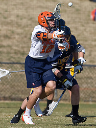 Virginia Cavaliers M/A John Haldy (12) in action against Drexel.  The #2 ranked Virginia Cavaliers defeated the Drexel Dragons 13-7 at the University of Virginia's Klockner Stadium in Charlottesville, VA on February 14, 2009.