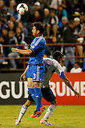 San Jose Earthquakes defender Dan Gargan (3) heads the ball against Montreal Impact forward Andrés Romero (15) in the second half of the game at Buck Shaw Stadium in Santa Clara, California, on September 17, 2013.  The San Jose Earthquakes beat Montreal Impact 3-0. (Stan Olszewski/QMI Agency)
