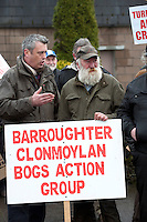 06/03/2013. Colm Keaveney TD with  Sean Cunningham Portumna protesting near the court house in Loughrea where turf cutters where up on charges in relation to the cutting of turf in an area of conservation. Picture:Andrew Downes