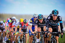 The lead group with Team Sky driving the pace on the front followed by Tom Boonen (BEL) Etixx-Quick Step on pave sector 11 Auchy-lez-Orchies a Bersee during the 114th edition of  Paris Roubaix 2016 race running 255.5km from Compiegne to Roubaix, France. 10th April 2016.<br /> Photo by Eoin Clarke / PelotonPhotos.com<br /> <br /> All photos usage must carry mandatory copyright credit (&copy; Peloton Photos | Newsfile | Eoin Clarke)