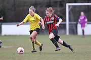 Fliss Gibbons and Joise Green during the Women's FA Cup match between Watford Ladies FC and Brighton Ladies at the Broadwater Stadium, Berkhampstead, United Kingdom on 1 February 2015. Photo by Stuart Butcher.