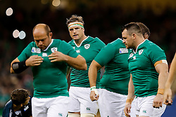 Ireland Number 8 Jamie Heaslip (capt) looks on  the national anthems - Mandatory byline: Rogan Thomson/JMP - 07966 386802 - 18/10/2015 - RUGBY UNION - Millennium Stadium - Cardiff, Wales - Ireland v Argentina - Rugby World Cup 2015 Quarter Finals.