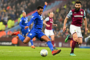Cardiff City midfielder Nathaniel Mendez-Laing (19) takes a shot at goal during the EFL Sky Bet Championship match between Aston Villa and Cardiff City at Villa Park, Birmingham, England on 10 April 2018. Picture by Dennis Goodwin.
