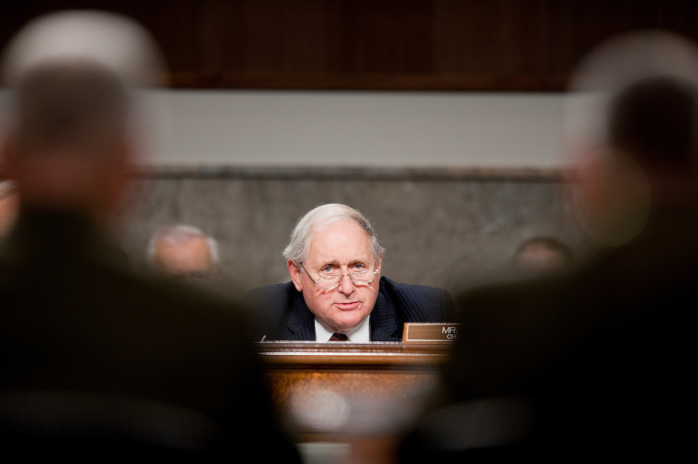 """Dec 3, 2010 - Washington, District of Columbia, U.S. - Senator CARL LEVIN (D-MI) questions Marine Corps General James Cartwright and General James Amos, commandant of the Marine Corps during a Senate Armed Services Committee hearing on the report of the Department of Defense Working Group that conducted a comprehensive review of the issues associated with a repeal of section 654 of title 10, United States Code, """"Policy Concerning Homosexuality in the Armed Forces."""".Witness(es): .(Credit Image: © Pete Marovich/ZUMA Press)"""