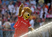 The Bayern Munich mascot springs a leak.  FC Bayern München - SV Werder Bremen,  Munich, Germany, 15th August 2009.