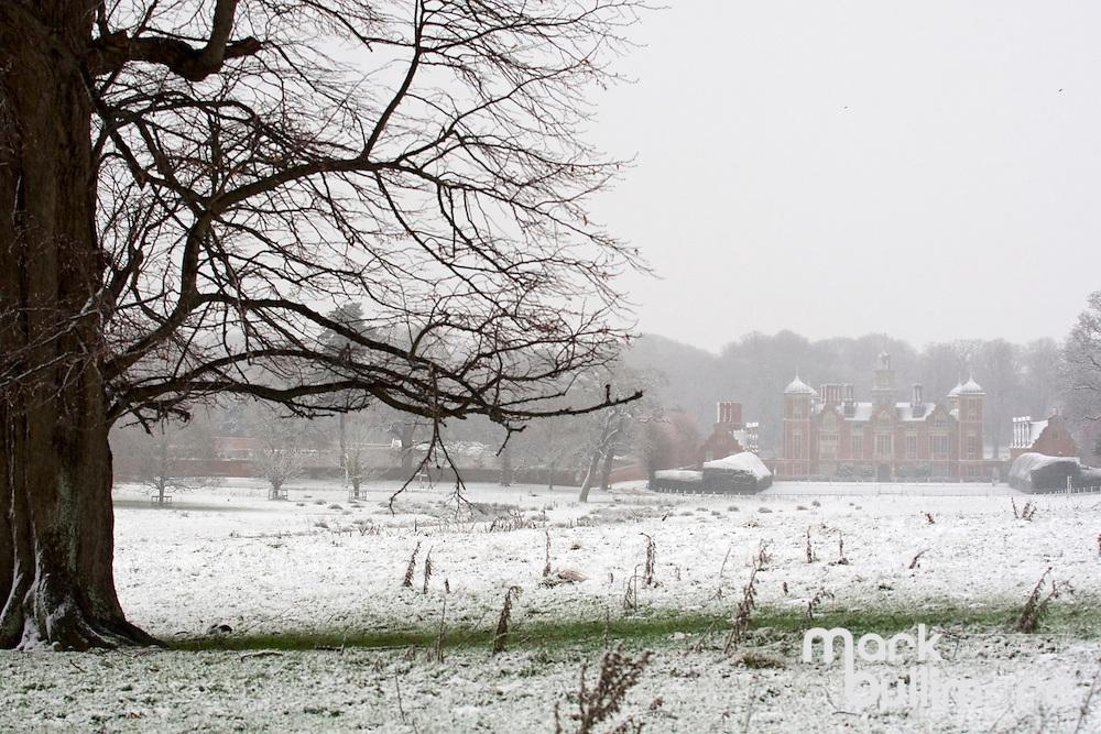 Blickling, Norfolk. Snow covers Blickling Hall, part of the National Trust's Blickling Hall Estate near Aylsham. <br /> <br /> Picture: MARK BULLIMORE