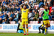 AFC Wimbledon defender Callum Kennedy (23) with a throw in during the EFL Sky Bet League 1 match between Wigan Athletic and AFC Wimbledon at the DW Stadium, Wigan, England on 28 April 2018. Picture by Simon Davies.