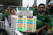 Pakistan fans with a board comparing their results fro 1992 to 2019 which so far have been identicle during the ICC Cricket World Cup 2019 match between New Zealand and Pakistan at Edgbaston, Birmingham, United Kingdom on 26 June 2019.