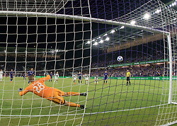 March 10, 2018 - Orlando, FL, U.S. - ORLANDO, FL - MARCH 10: Orlando City defender Yoshimar Yotun (19) scores a PK Goal as Minnesota United goalkeeper Matt Lampson (28) dives the wrong way during the MLS Soccer match between Orlando City SC and Minnesota United FC on March, 10th 2018 at Orlando City Stadium in Orlando, FL. (Photo by Andrew Bershaw/Icon Sportswire) (Credit Image: © Andrew Bershaw/Icon SMI via ZUMA Press)