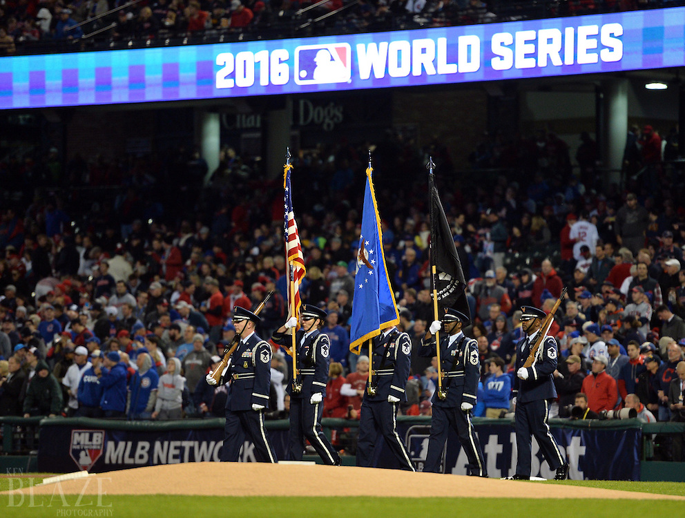 Oct 25, 2016; Cleveland, OH, USA; Color guard before game one of the 2016 World Series between the Chicago Cubs and the Cleveland Indians at Progressive Field. Mandatory Credit: Ken Blaze-USA TODAY Sports