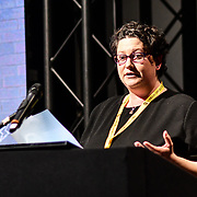 Speaker Laura Higgins of Roblox at ukie students at London Games Festival 2019: HUB at Somerset House at Strand, London, UK. on 2nd April 2019.