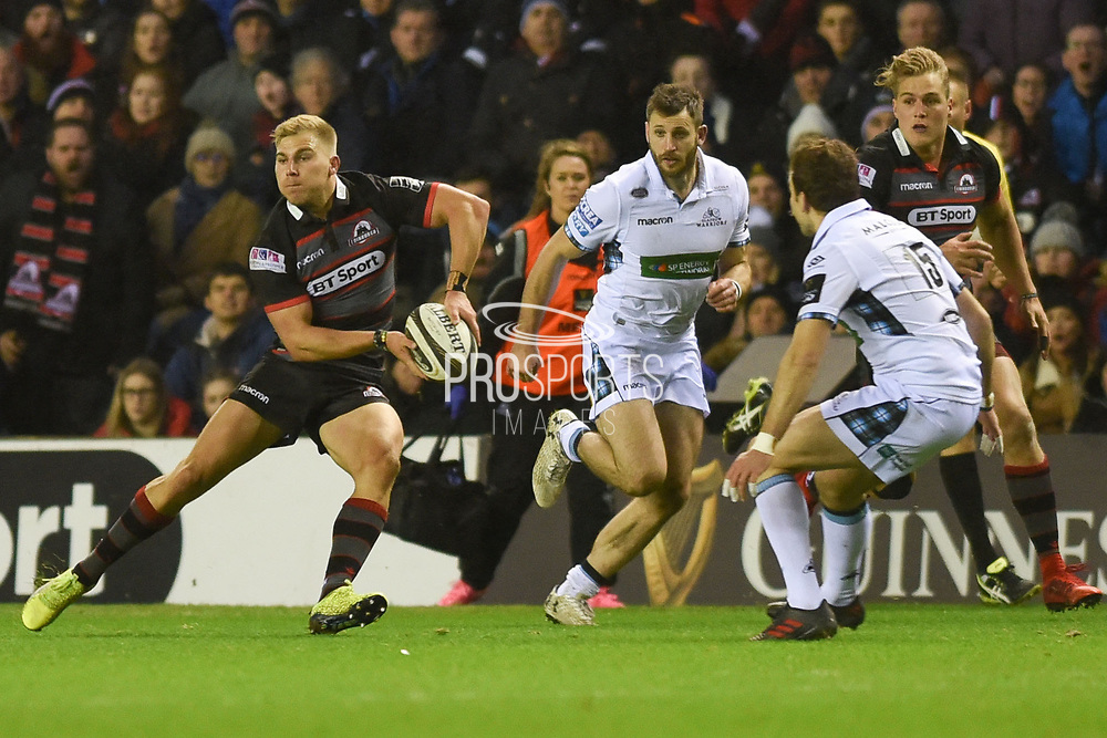 Jaco van der Walt on the ball during the Guinness Pro 14 2017_18 match between Edinburgh Rugby and Glasgow Warriors at Murrayfield, Edinburgh, Scotland on 23 December 2017. Photo by Kevin Murray.
