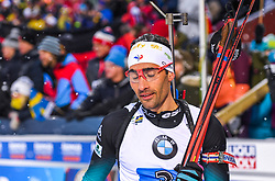 March 16, 2019 - –Stersund, Sweden - 190316 Martin Fourcade of France looks dejected after the Men's 4x7,5 km Relay during the IBU World Championships Biathlon on March 16, 2019 in Östersund..Photo: Petter Arvidson / BILDBYRÃ…N / kod PA / 92269 (Credit Image: © Petter Arvidson/Bildbyran via ZUMA Press)