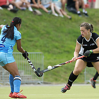 MONCHENGLADBACH - Junior World Cup<br /> Pool C: New Zealand - India<br /> photo: Sushia Chanu Pukhrambam (blue) Rachel McCann (black).<br /> COPYRIGHT FRANK UIJLENBROEK FFU PRESS AGENCY
