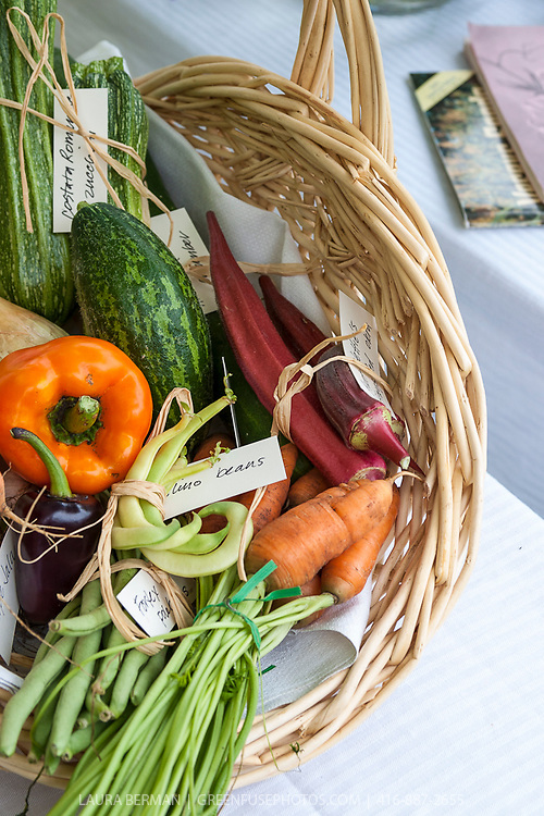 Basket of heirloom vegetables at an heirloom vegetable tasting party.