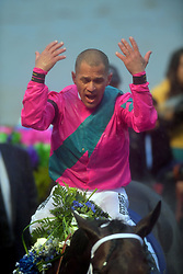 January 26, 2019 - Hallandale Beach, Florida, United States Of America - HALLANDALE BEACH, FL - JANUARY 26: Jockey Javier Castellano riding City of Light wins the third running of the Pegasus World Cup Invitational, The World's Richest Thoroughbred Horse Race held at Gulfstream Park on January 26, 2019 in Hallandale Beach, Florida...People:  Javier Castellano, City of Light (Credit Image: © SMG via ZUMA Wire)