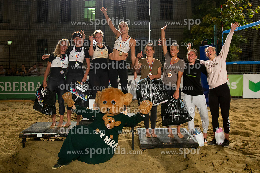Second placed Skarlovnik/Pesic, Winners Jancar/Kotnik and Third placed Lovsin/Lovsin after Beach Volleyball Slovenian National Championship 2018, on July 21, 2018 in Kranj, Slovenia. Photo by Urban Urbanc / Sportida