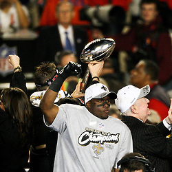 2010 February 07: New Orleans Saints running back Reggie Bush (25) celebrates following a 31-17 win by the New Orleans Saints over the Indianapolis Colts in Super Bowl XLIV at Sun Life Stadium in Miami, Florida.