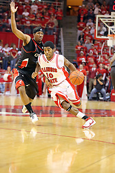 08 December 2007: Dom Johnson turns it on passing Larry Davis. The Cincinnati Bearcats take a loose against the Illinois State Redbirds 62-52 on Doug Collins Court in Redbird Arena on the campus of Illinois State University in Normal Illinois.