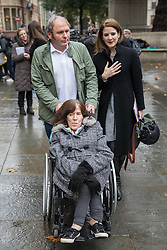 © Licensed to London News Pictures. 09/11/2016. London, UK. Jayson Carmichael and Charlotte Carmichael leave the Supreme Court, London, after winning an appeal against the bedroom tax. The bedroom tax was unfairly restricting their housing subsidies. Photo credit : Tom Nicholson/LNP