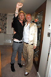 Left to right, Actor RHYS IFANS and fashion designer JOE CORRE son of Vivienne Westwood at a party to celebrate the publication of 'All That Glitters' by Pearl Lowe held at the May Fair Hotel, London on 8th July 2007.<br />