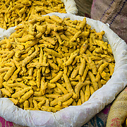 Bags of tumeric in Chandni Chowk spice market, Old Delhi