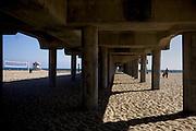 Under structure of Huntington Beach Pier.