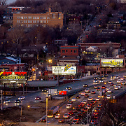 Traffic on I -35 in downtown Kansas City during eveningtime rush hour.