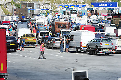 © Licensed to London News Pictures. 24/07/2016<br /> THE QUEUE AT DOVER DOCKS CHECK IN.<br /> The Dover traffic hell continues today (24.07.2016) in Kent.<br /> Long queues at the Port of Dover this afternoon<br />  because of very long delays at French border control. <br /> (Byline:Grant Falvey/LNP)