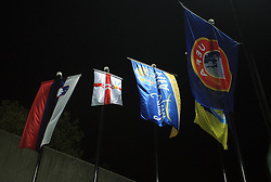Flags during the fourth round qualification game of 2010 FIFA WORLD CUP SOUTH AFRICA in Group 3 between Slovenia and Northern Ireland at Stadion Ljudski vrt, on October 11, 2008, in Maribor, Slovenia.  (Photo by Vid Ponikvar / Sportal Images)