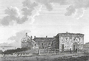 Engraving of Scottish landscapes and buildings from late eighteenth century,Pittenweem Priory, Scotland, UK 1791 , drawn by S Hooper