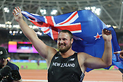 Thomas Walsh, New Zealand, celebrates after shot put final gold during the IAAF World Championships at the London Stadium, London, England on 6 August 2017. Photo by Myriam Cawston.
