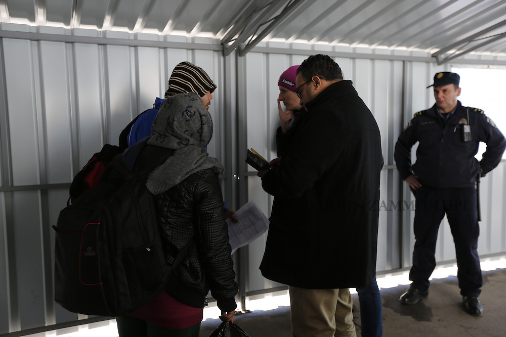 Migrants and refugees at transit camp in Sid, Serbia