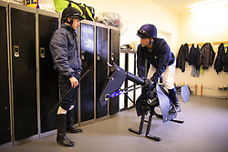 23rd November 2017 - Michael Owen Horse Racing - Former footballer Michael Owen receives advice from retain jockey Richard Kingscote at Manor House Stables in Cheshire ahead of his first ever race as a jockey - Photo: Simon Stacpoole / Offside.