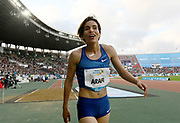 Jun 16, 2019; Rabat, Morocco; Rababe Arafi (MAR) celebrates after placing fourth in the women's 1,500m in a national record 3:58.84 during the Meeting International Mohammed VI d'Athletisme de Rabat at Prince Moulay Abdellah Stadium.