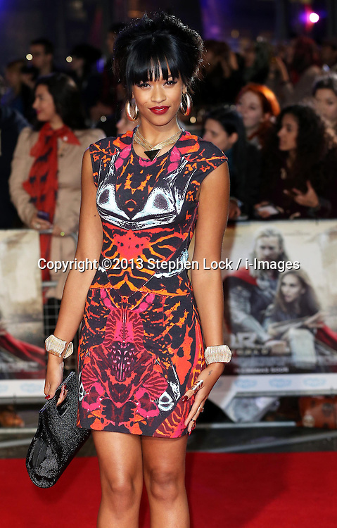 X Factor finalist Tamera Foster  arriving for the premiere of Thor: The Dark World, in London, Tuesday, 22nd October 2013. Picture by Stephen Lock / i-Images