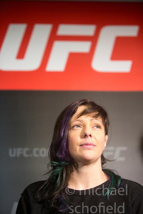 Scot Joanne Calderwood - No.8 strawweight contender. UFC FIGHT NIGHT: ULTIMATE MEDIA DAY, Castle, Crowne Plaza Glasgow,