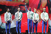 the team of France during the presentation of the teams during the European Championships Glasgow 2018, Team Men Final at The SSE Hydro in Glasgow, Great Britain, Day 10, on August 11, 2018 - Photo Laurent Lairys / ProSportsImages / DPPI