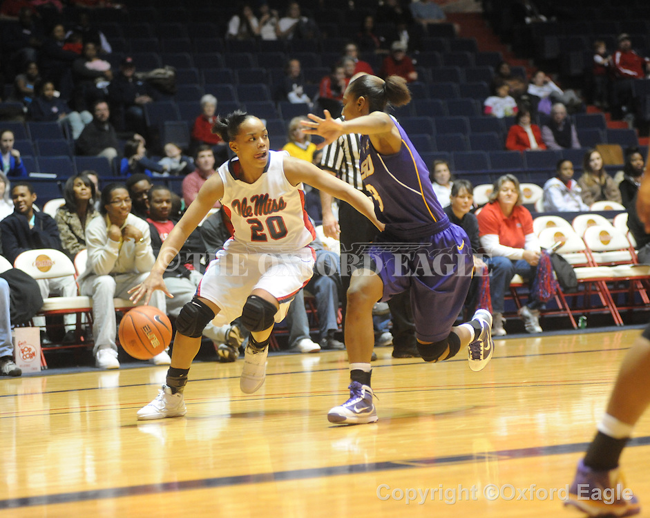 """Ole Miss' Kayla Melson (20) vs. LSU on Sunday, January 17, 2010 at the C.M. """"Tad"""" Smith Coliseum in Oxford, Miss."""