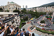 May 23-27, 2018: Monaco Grand Prix.  Start of the 76th Monaco Grand Prix from the Fairmont hairpin.  Stoffel Vandoorne (BEL), McLaren Renault, MCL33, Sergey Sirotkin, Williams Martini Racing, FW41, Nico Hulkenberg (GER), Renault Sport Formula One Team, R.S.18