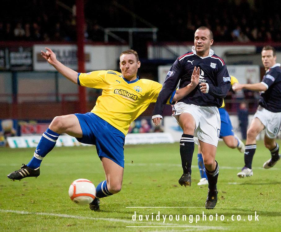 Morton's Andy Graham denies Dundee's Steven Milne - Dundee v Greenock Morton..- © David Young - .5 Foundry Place - .Monifieth - .DD5 4BB - .Telephone 07765 252616 - .email; davidyoungphoto@gmail.com - .web; www.davidyoungphoto.co.uk