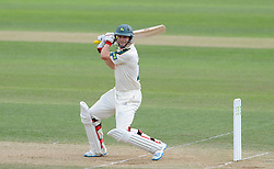 Nottinghamshire's Will Gidman cuts the ball. - Photo mandatory by-line: Harry Trump/JMP - Mobile: 07966 386802 - 16/06/15 - SPORT - CRICKET - LVCC County Championship - Division One - Day Three - Somerset v Nottinghamshire - The County Ground, Taunton, England.