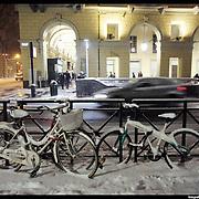 Nella foto Piazza Carlo Felice.. Turin under snow, Torino sotto la neve.